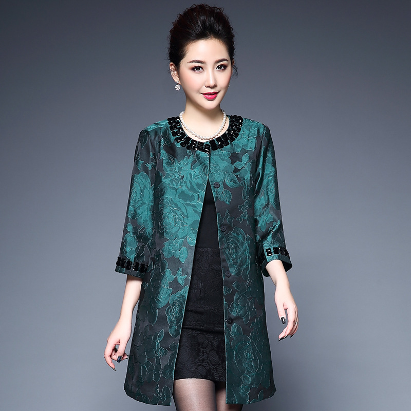 Female Jacquard Floral Pattern Ethnic Embroidery Chinese Traditional Beautiful Coat For Middle Aged Mother Autumn Outwear