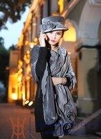 Trasporto libero di vendita calda elegante delle nuove donne di modo 100% velluto di inverno caldo cappello + derby abito da sposa sciarpa del fiore scialle + hat set