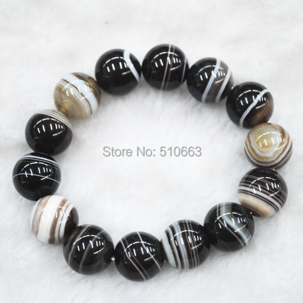 1 Pieces/Lot,Nature Lace Agate Stone Bracelet, Fit Sterling Silver Men Jewelry,Size: 14mm,