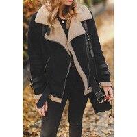 Пальто и куртки женская зимняя флисовая верхняя одежда из искусственного меха теплая байкерская куртка-Авиатор с отворотом и карманами для...