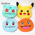 4pcs/lot Monsters Pikachu Charmander Squirtle Bulbasaur Plush Coin Bag Soft Stuffed Animal Dolls for Children Kids' Toy AP0221