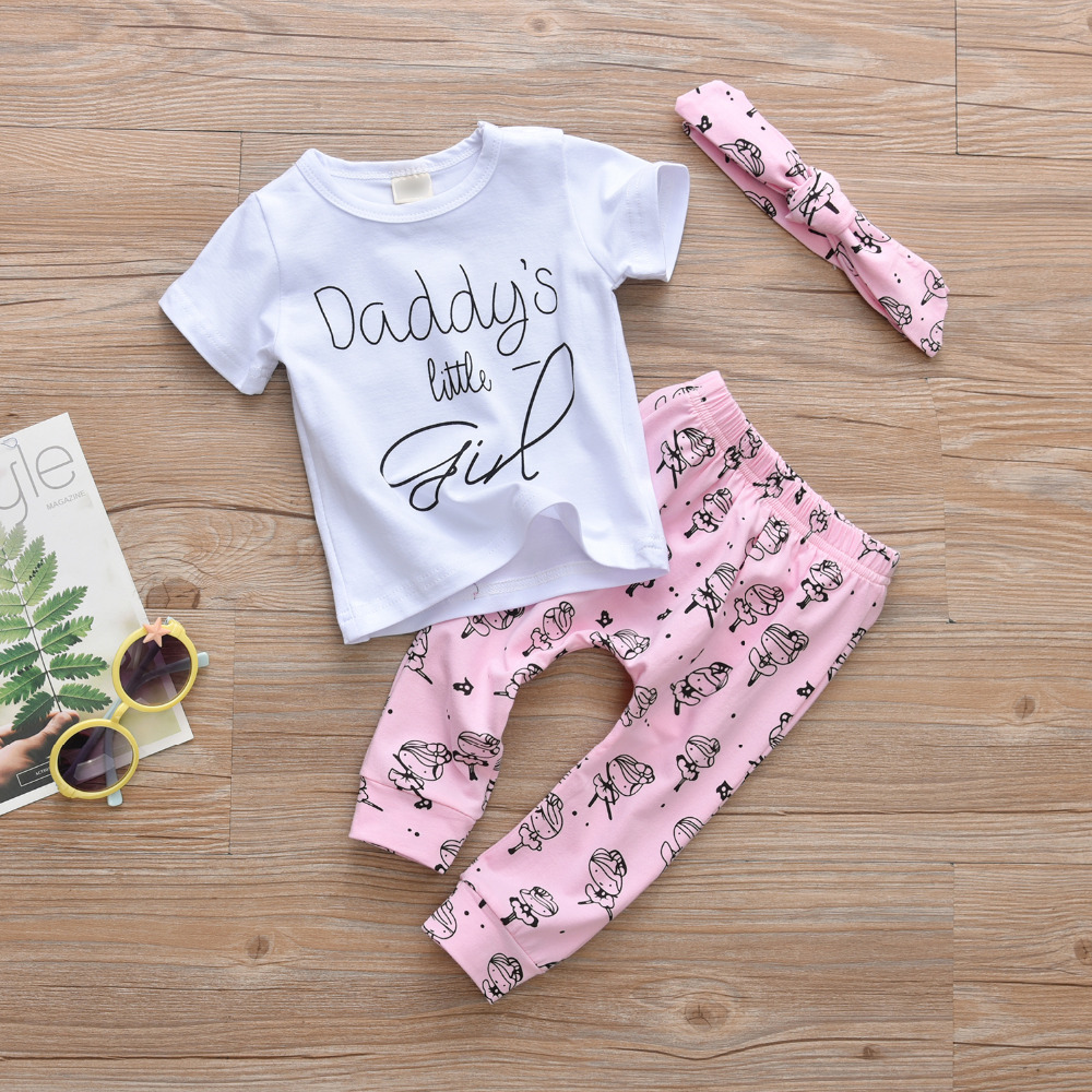 Newborn Infant Outfits Us 7 99 26 Off 3pcs Set Newborn Baby Girl Clothes Short Sleeve Letter T Shirt Cartoon Pants Headband Infant Outfits Baby Girl Clothing In Clothing