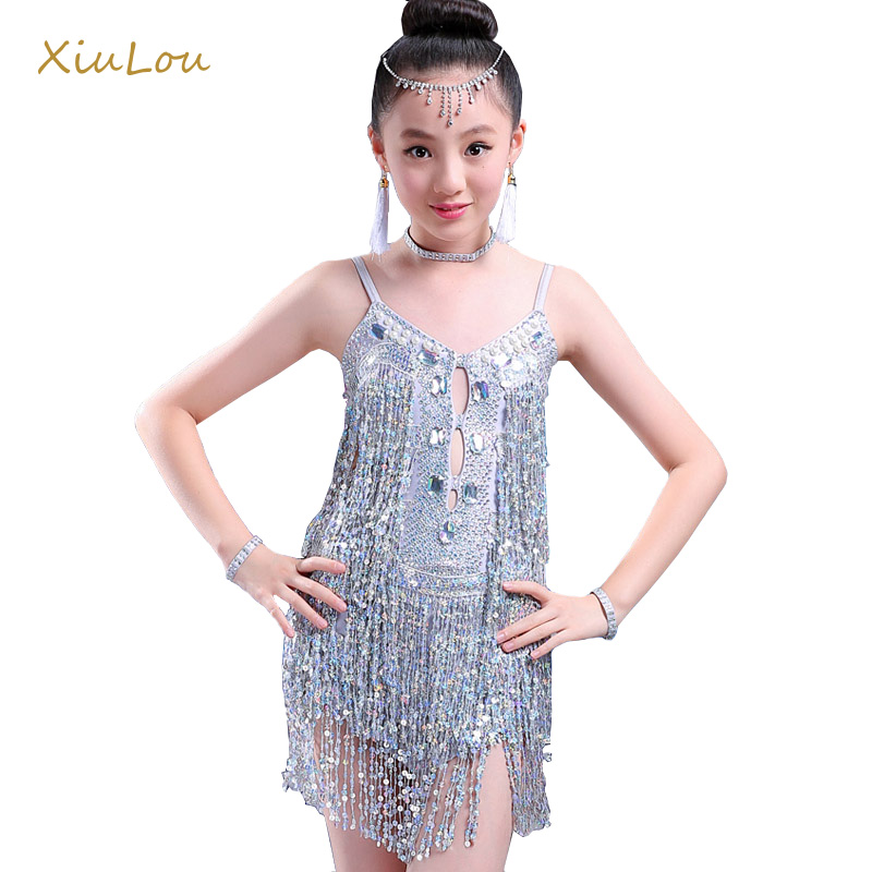 2018 sequins tassels latin dance dress for girls tango samba cha cha latin dance costume for