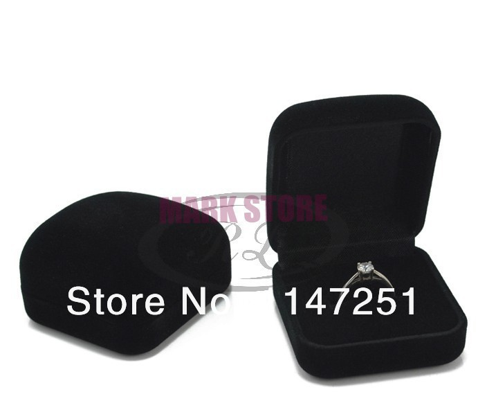 Wholesale High Quality 5x5x2.8cm 60pcs/lot Black Square Velvet Ring Box Favor Jewelry Earrings Display Packaging Boxes