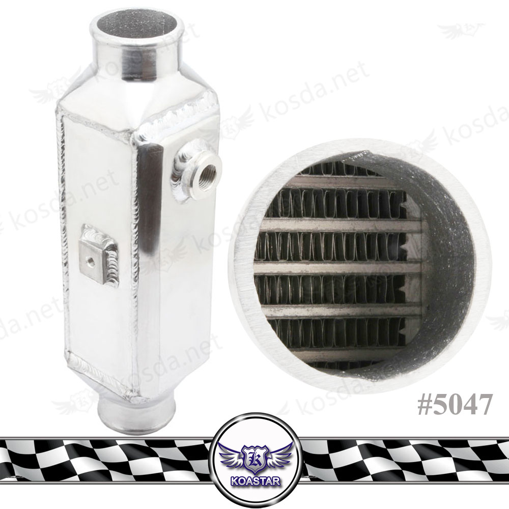 Universal Aluminum Bar and Plate Turbo Front-Mount Water to Air Intercooler 220x90x75mm In/Outlet 2.5''
