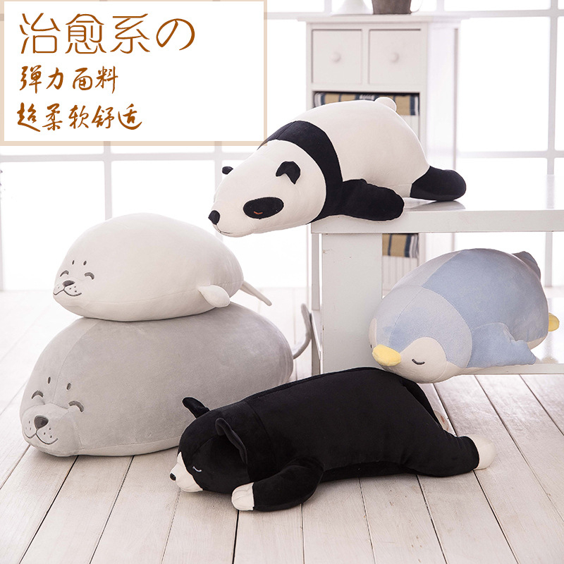Cartoon Super Soft Pillow Cat Seal Bear Penguin Plush Toys Kids Sleeping Back Cushion stuffed Doll Baby Birthday Gift for Kids 1pc 65cm cartion cute u shape pillow kawaii cat panda soft cushion home decoration kids birthday christmas gift
