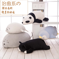 Cartoon Super Soft Pillow Cat Seal Bear Penguin Plush Toys Kids Sleeping Back Cushion stuffed Doll Baby Birthday Gift for Kids