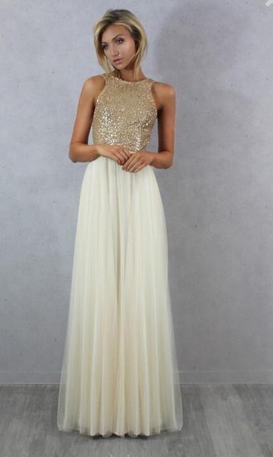 Champagne Chiffon Beaded Long Bridesmaid Dresses