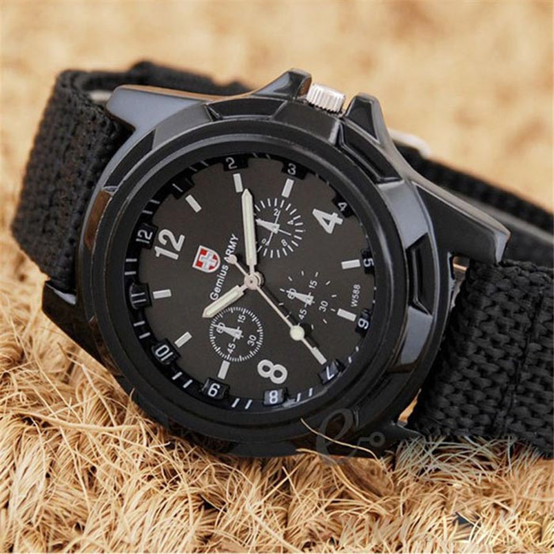 Fashion 2018 Watch Men Gemius Army Racing Force Military Sport Fabric Band BlackBrand New and High Quality Desportivo Militaire цена
