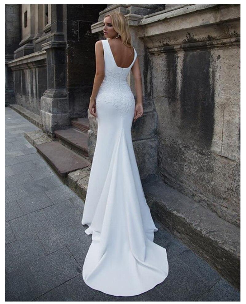 Image 2 - LORIE 2019 Mermaid Wedding Dresses Soft Satin Appliques Lace Beach Bride Dress Sexy Back Wedding Gown Hot Sale-in Wedding Dresses from Weddings & Events