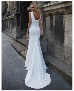 Image 2 - LORIE Mermaid Wedding Dresses 2020 Soft Satin Appliques Lace Beach Bride Dress Sexy Back Wedding Gown Hot Sale