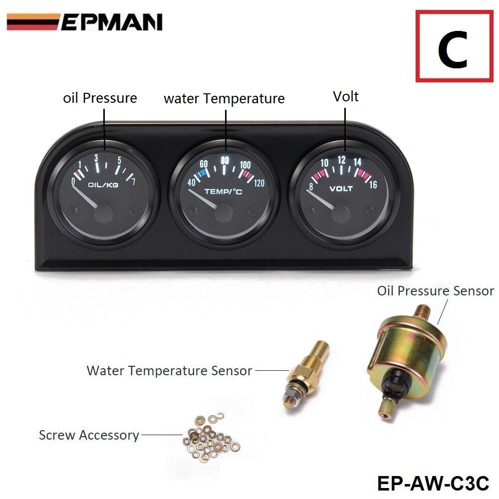 52 мм 3 в 1 Вольтметр+ Датчик температуры воды+ Датчик давления масла комплект вольтметр или датчик температуры масла тройной метэ EP-AW-C3 - Цвет: AW C3 C