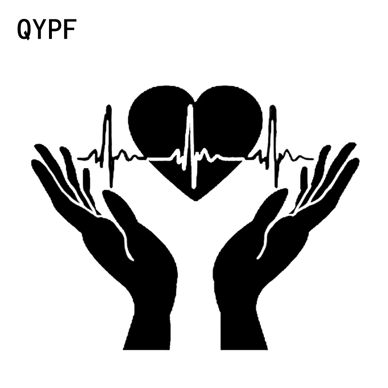 QYPF 15.3*12.3CM Coolest Heart Heartbeat In Hands Open Palms Cardiogram Car Sticker Decoration Vinyl C16-0327