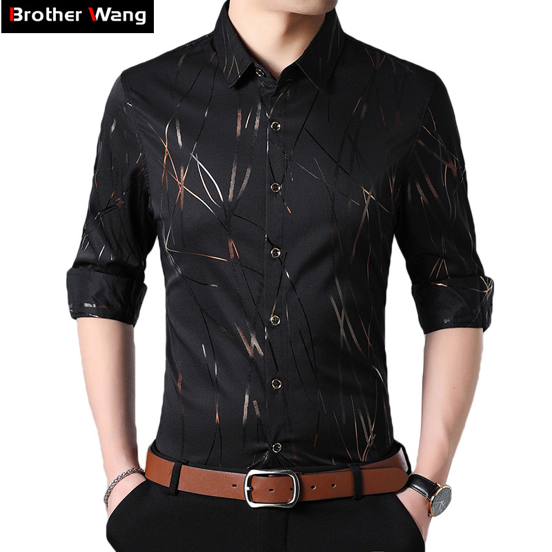 Men's Brand Shirt 2020 Autumn New Striped Print Fashion Casual Large Size Long Sleeve Shirt Male Clothes 4XL 5XL 6XL 7XL