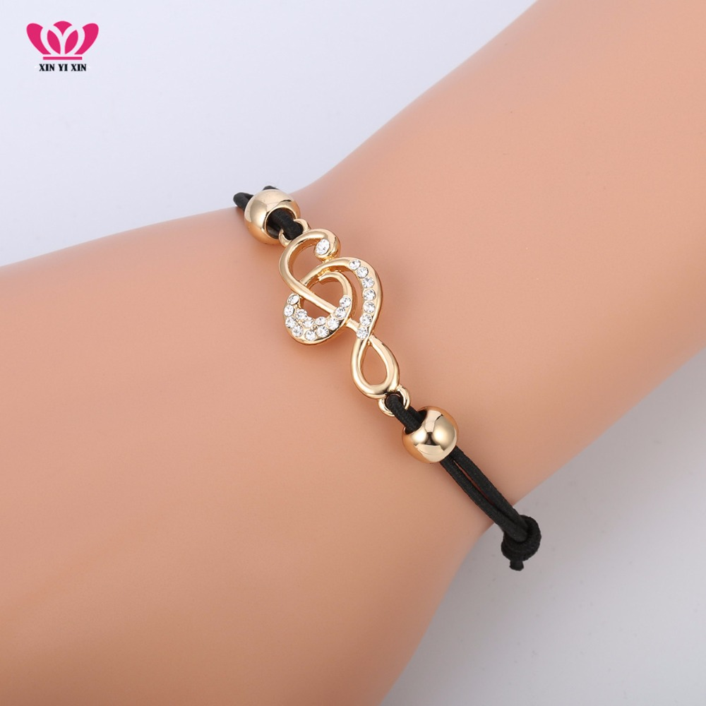 Wholesale Gold Tiny Music Note Bracelet Women Elastic Rope Beads Crystal Music Bracelet Jewelry Accessories Dropshipping 2018 image