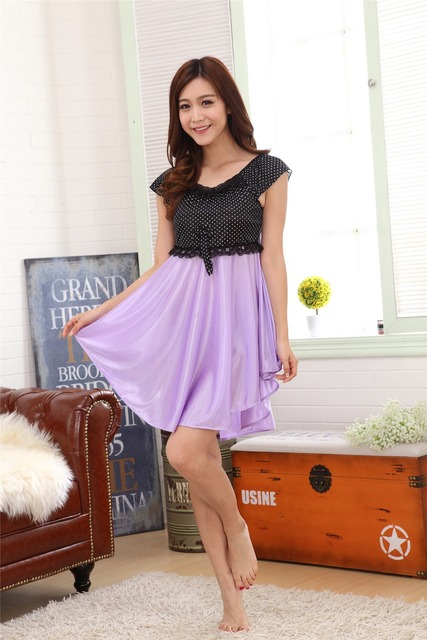 2016 New Fhashion Night Gown Women Casual Home Dress Nightgown Sleep Wear Silk Dress -5891