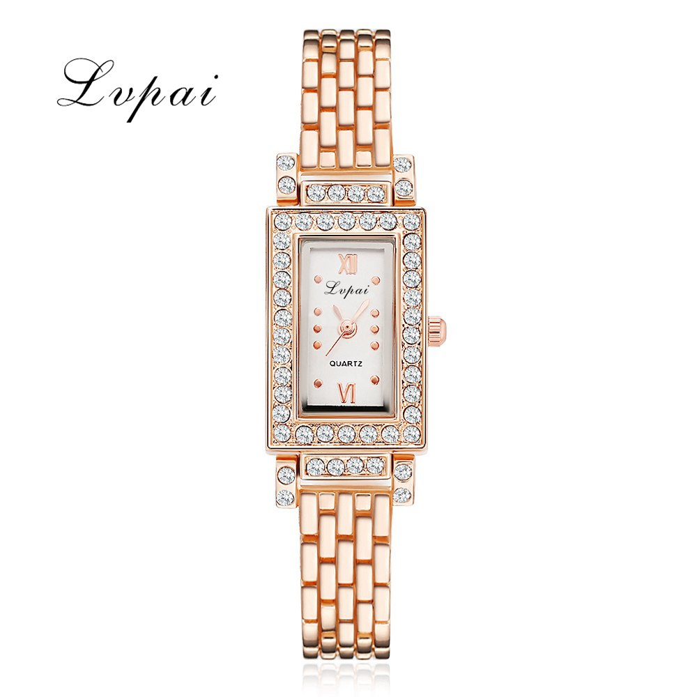 Lvpai Brand Women Luxury Watch Diamond Quartz Ladies Wrist Watches Square Simple Fashion Women Dress Bracelet Watches Clock