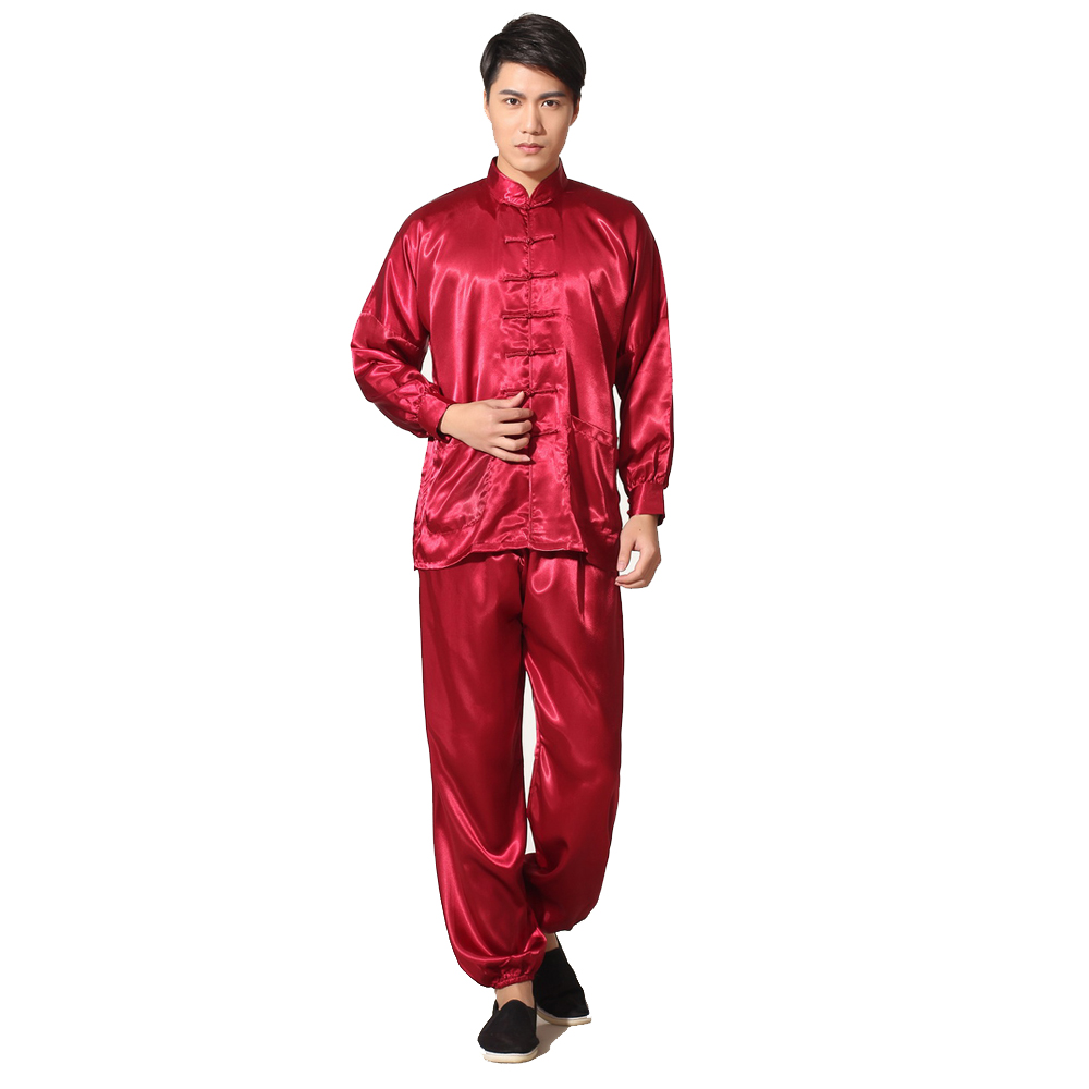 62e4ed6ee026 Novelty Gold Men s Satin Pajamas Set Chinese Style Button Pyjamas Suit Soft  Sleepwear Shirt Trousers Nightgown S M L XL XXL-in Men s Pajama Sets from  ...