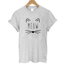 Women MEOW Cute Cat T-shirt