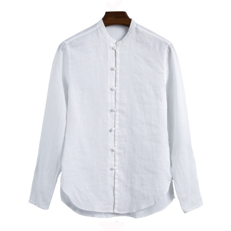 ac316210ddd3f Satın Al SHIFUREN 100% Saf Keten Gömlek Erkekler Standı Yaka Beyaz ...