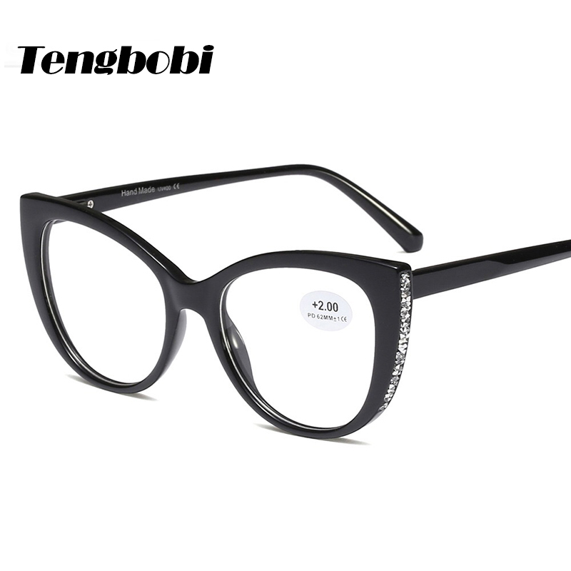 Rhinestone Reading Glasses Women Cat Eye men Shape Reading Eyeglasses Degree 50 +100 +150 +200 +250 +300+350 +400 CY280 image