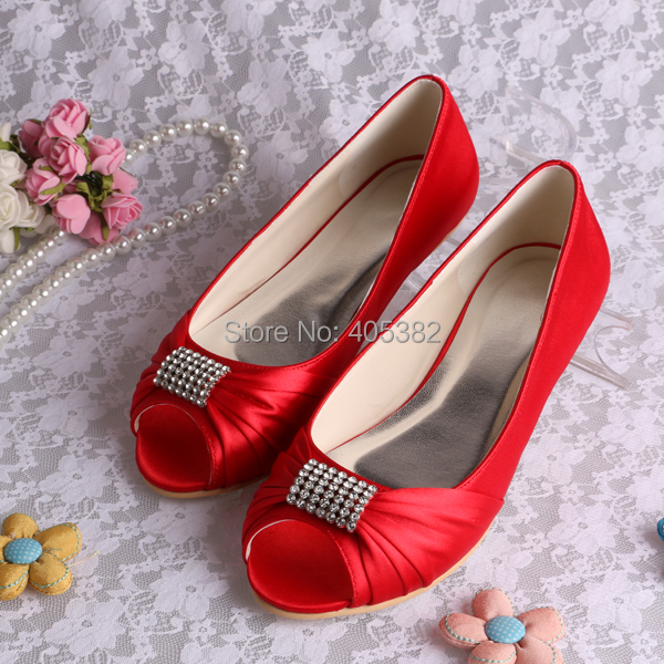 93551cb0f2fe (20 Colors)Drop Shipping Diamond Decoration Red Bridal Flat Shoes Wedding  Size 42