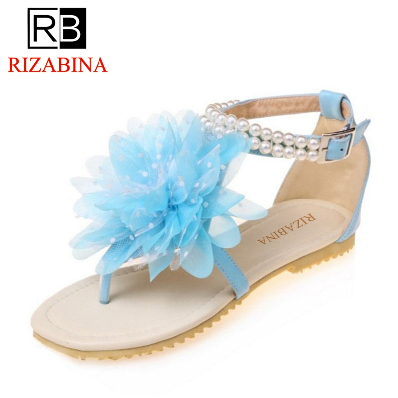 RIZABINA Size 33-43 Bohemia Style Women Flats Sandals Ankle Beading Summer Shoes Women Flower Fashion Lady Beach Daily Footwear rizabina concise women sneakers lady white shoes female butterfly cross strap flats shoes embroidery women footwear size 36 40