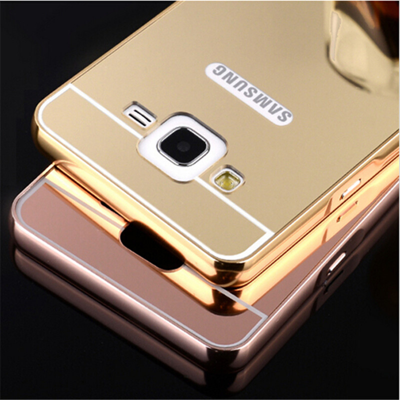 Luxury Golden plating Aluminum Frame + Armor Mirror Acrylic Back Cover Case For Samsung galaxy A5 E5 J5 2016 Phone Bags Cases