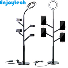 New aluminum alloy Tabletop Stands Mounts with LED Ring Flash Lamp Tripod Holders for Mobile Phones Video Bloggers