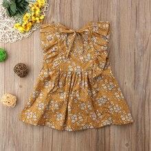 Floral Summer Dresses Short Sleeves Ruffle Dress 0-4Y