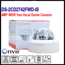 Free shipping Hikvision 4MP 1080p IR Vari-focal CCTV Camera IP POE DS-2CD2742FWD-IS Audio, WDR Vari-focal Dome Network IP Camera