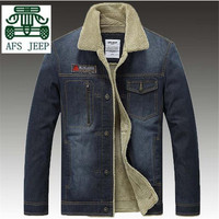 AFS JEEP Winter New Style 2016 Cashmere Inner Warmly Cotton Outwear Denim Coat For Men Black