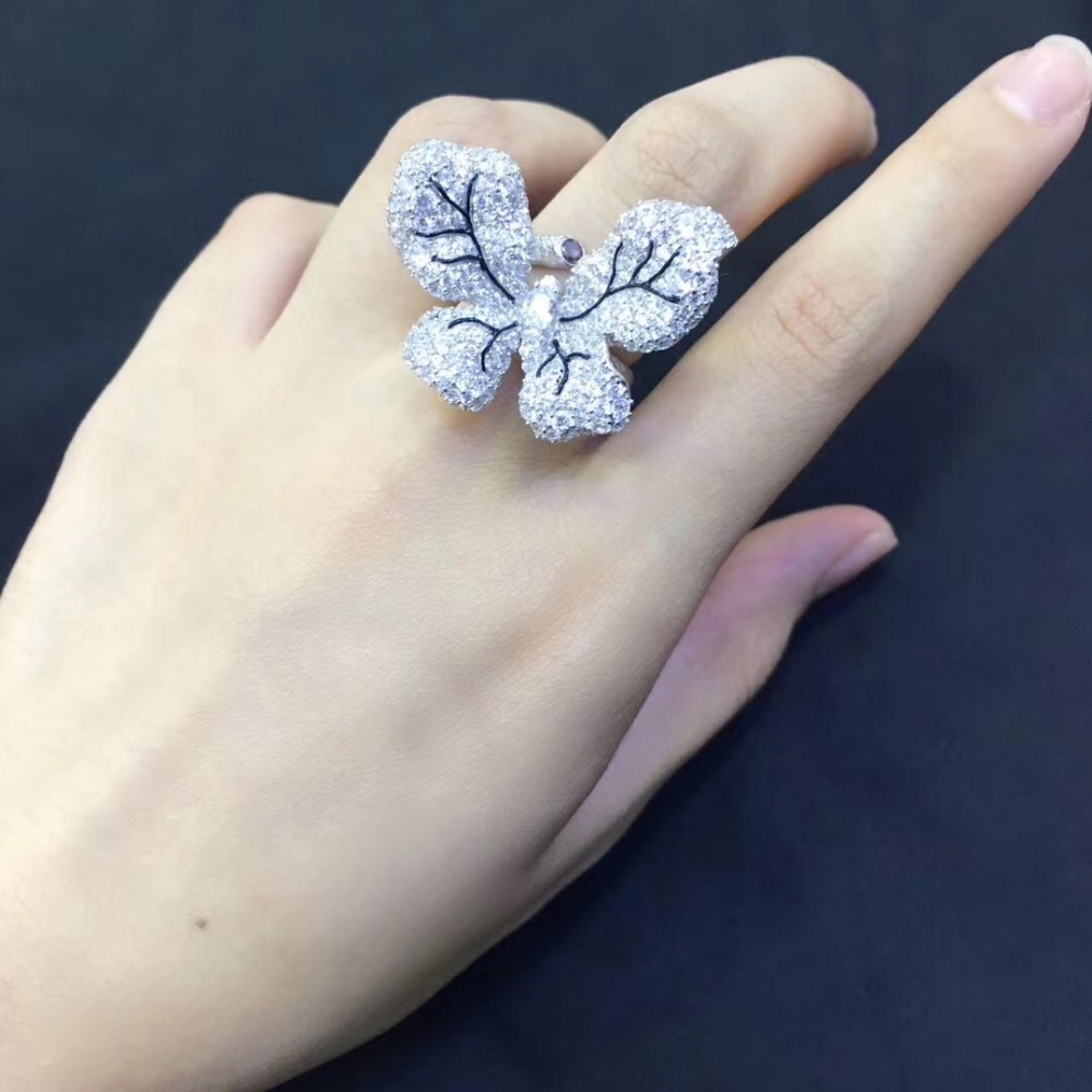 925 sterling silver with cubic zircon butterfly ring cute adjustable size pave stone fashion women jewelry free shipping - 5