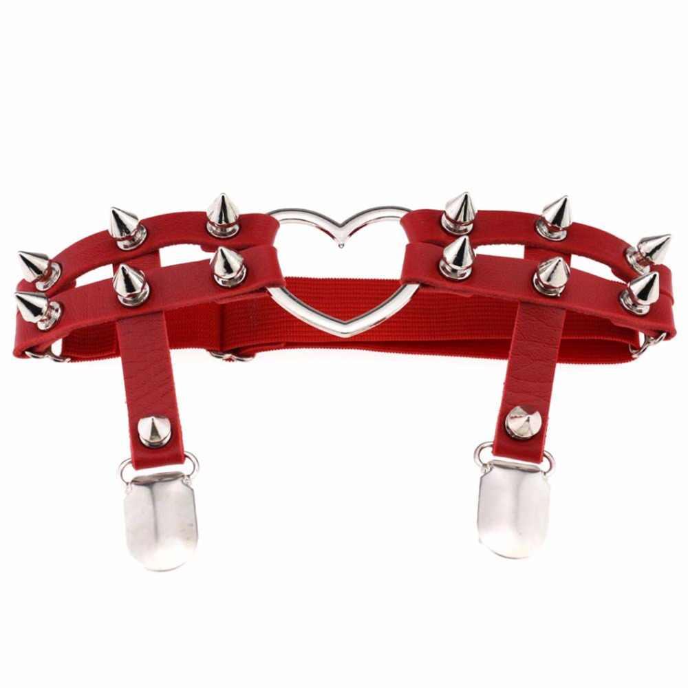 Chandler 2017 Heart Love Rivet Leg Necklace Belt For Women Trendy Punk Gothic PU Leather Pastel Gothic Harness Garter Stockings
