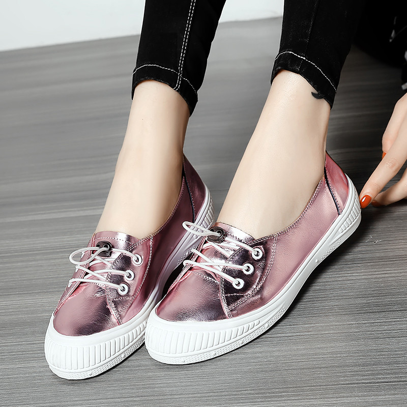 YMECHIC Fashion Lady s Flat Heel Cross Tied Casual Daily Pink Real Genuine Leather Women Oxfords