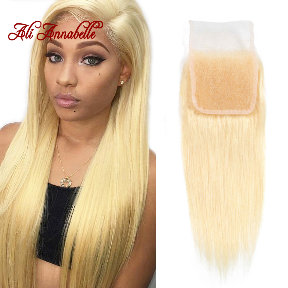 Brazilian Straight Human Hair Lace Closure 4*4 613 Blonde Swiss Lace Closure 100% Human Hair Remy Hair Weaving Middle/Free Part image