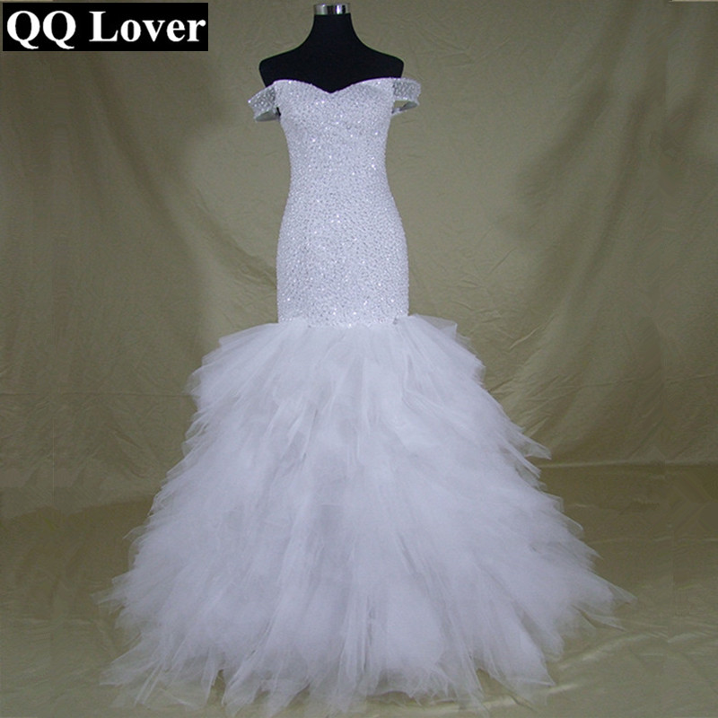 QQ Lover 2019 New Africa Designer Cap Sleeves Handwork Beads Ruffle Tiered Mermaid Wedding Dress Real Photos