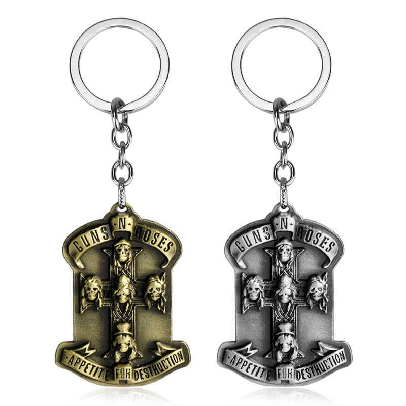 41 estilo Rock banda Judas sacerdote hoja de afeitar llavero AC/DC GnR cazadora llavero llave de Metal anillo de llave de coche colgante de cadena de la joyería de los hombres