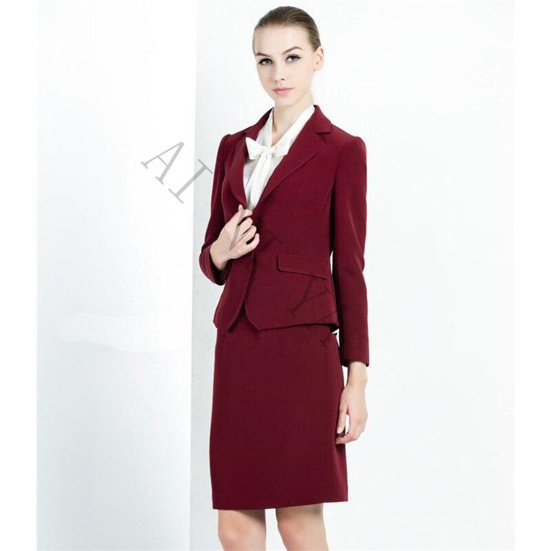 Vin rouge jupe costume femmes bureau dames 2 pièce costumes de haute qualité formelle OL travail porter des affaires élégant femme bureau uniforme