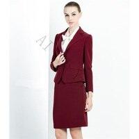 Wine Red Skirt Suit Women Office Ladies 2 Piece Suits High Quality Formal OL Work Wear Business Elegant Female Office Uniform