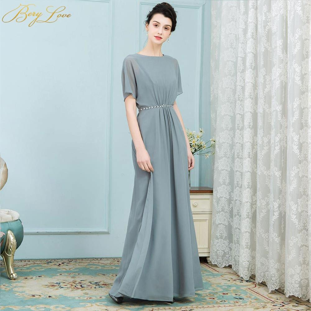BeryLove Unique mère de la mariée robes manches courtes longue en mousseline de soie 2019 femmes robe de soirée de mariage mère robe de soirée maman