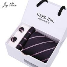 2018 mens fashion tie set polyester silk neckties dot stripe black ties for men tie handkerchief cufflinks gift box packing marvis black box gift set