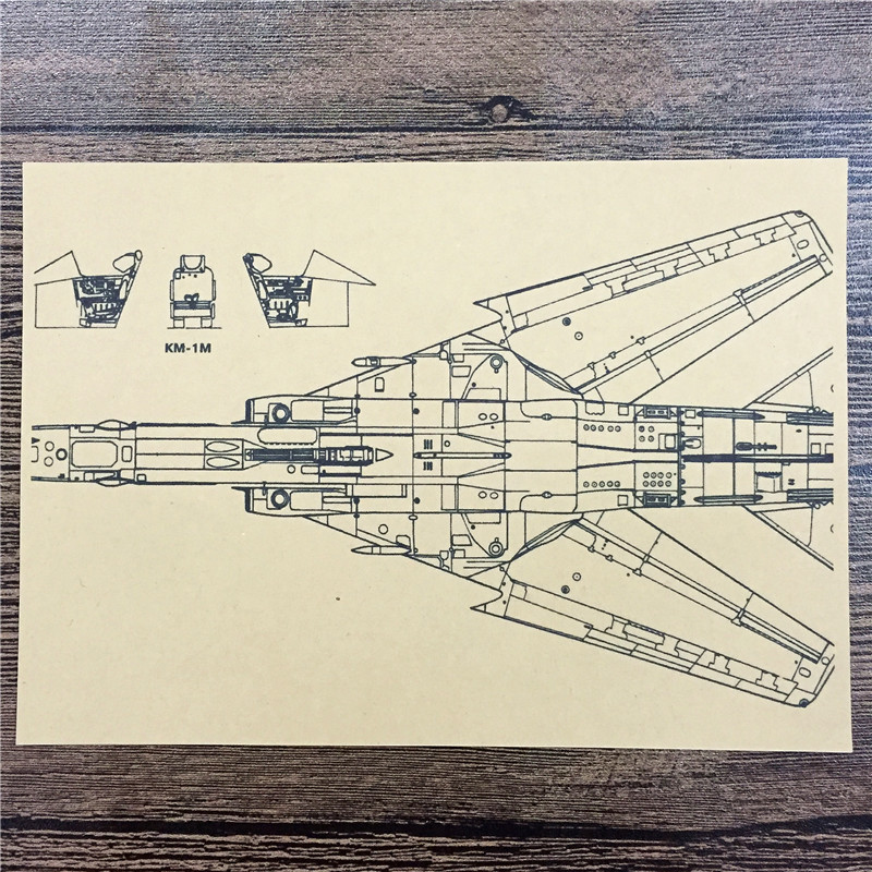 FJ-222 back to the future kraft paper Seat fighter Detailswallpaper art poster pictures home decor for bathroom 42x30cm