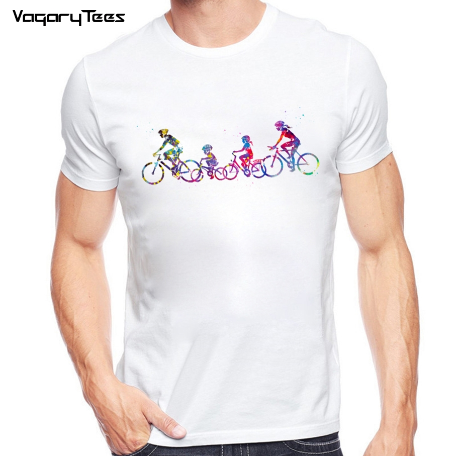 Dripping watercolor Family Riding Bicycle T-Shirt Summer Men's Hipster White T Shirt Fashion Popular Novelty Tops Tee Clothes