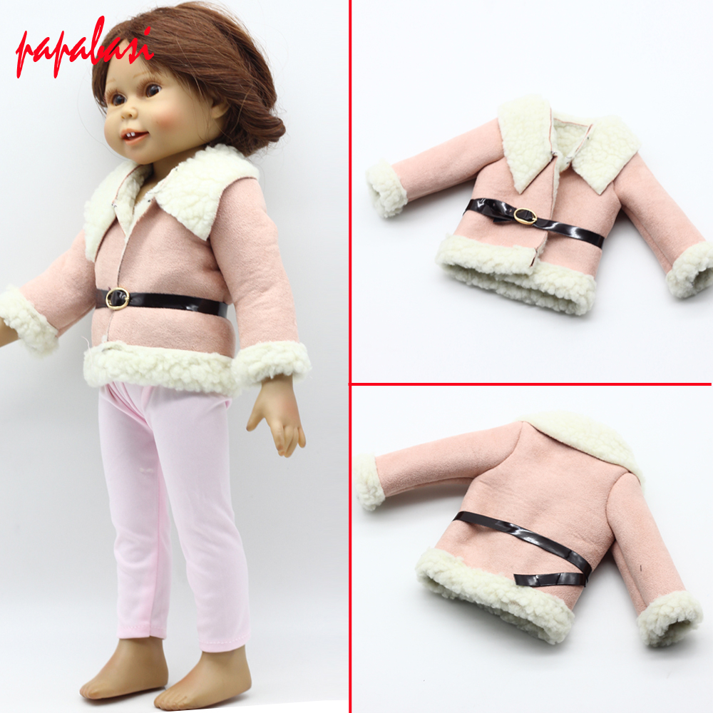 Pink Wool Coat Doll Clothes With Belt for 18