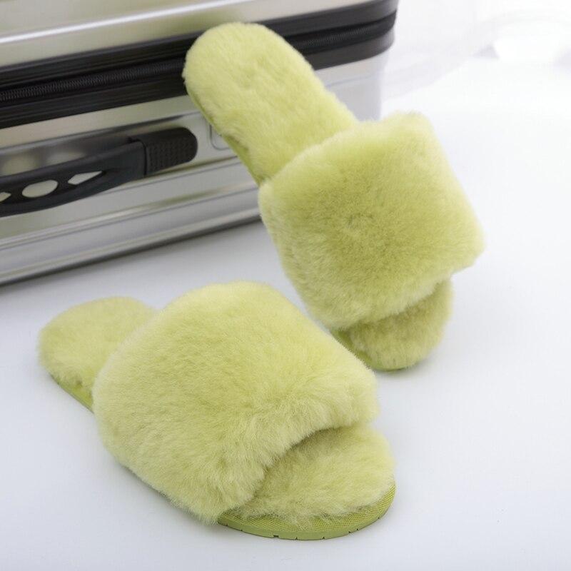 Image 5 - Millffy ウール毛皮ホームスリッパ空調室シープスキンスリッパファースリッパ家庭の靴レディーススリッパ   -