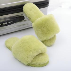 Image 5 - Шерстяные меховые домашние тапочки Millffy, кондиционируемые комнатные Шлепанцы из овчины, меховые шлепанцы, домашняя обувь для женщин
