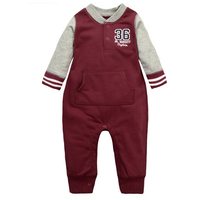 y373 New winter long sleeved leotard climbing clothes out clothes cotton baby boys and girls in red Baseball Romper