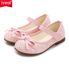 ФОТО  iyeal princess kids leather shoes for girls flower casual glitter children girls shoes butterfly knot blue pink silver gold
