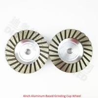 2PK 4inch Aluminum Based Diamond Grinding Cup Wheel 30 120 M14 Thread Diameter 100mm Grinding Wheel